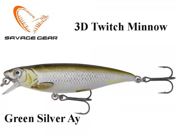 Воблер Savage Gear 3D Twitch Minnow Green Silver Ay