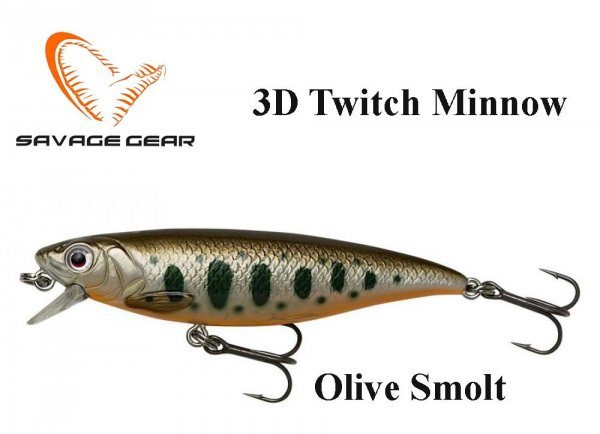 Воблер Savage Gear 3D Twitch Minnow Olive Smolt