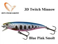 Воблер Savage Gear 3D Twitch Minnow Blue Pink Smolt