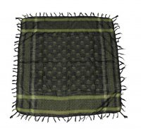 Shemagh head wrap olive/black with skull